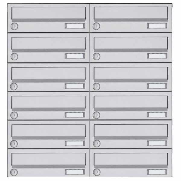 12er 6x2 Aufputz Briefkastenanlage Design BASIC 385A AP - Edelstahl V2A, geschliffen
