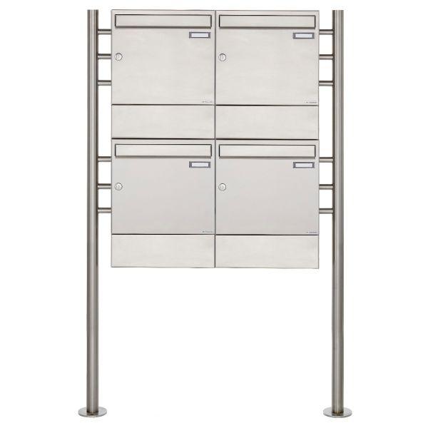 4er 2x2 Edelstahl Standbriefkasten Design BASIC 381 ST-R mit Zeitungsfächer