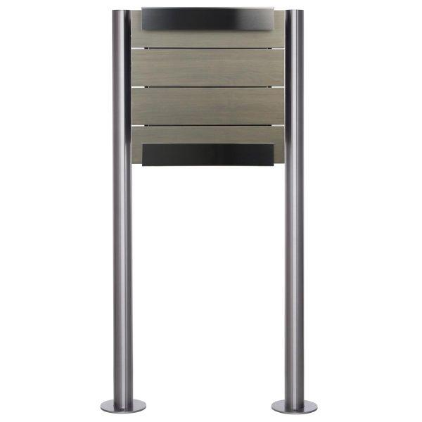 Design Standriefkasten KEILBACH glasnost wood grey ST-R aus Edelstahl & grau lasiertes Eichenholz