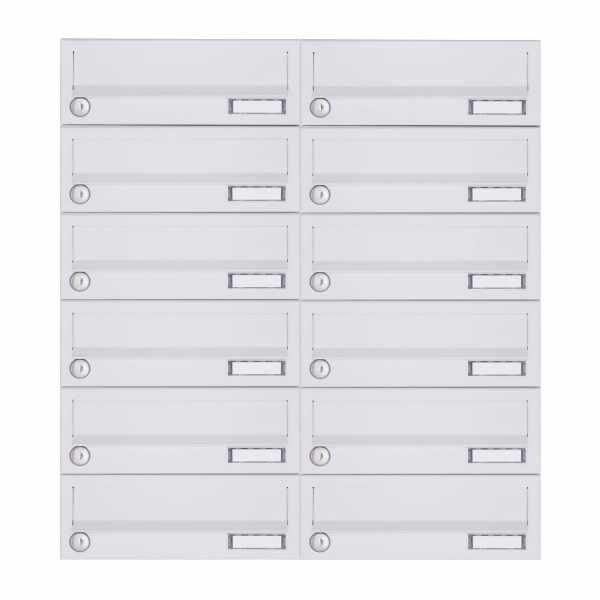 12er 6x2 Aufputz Briefkastenanlage Design BASIC 385A-9016 AP - RAL 9016 verkehrsweiß