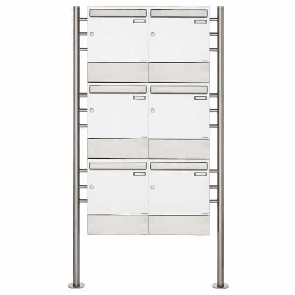 6er 3x2 Standbriefkasten Design BASIC 381 ST-R mit Zeitungsfächer - RAL 9016 verkehrsweiß
