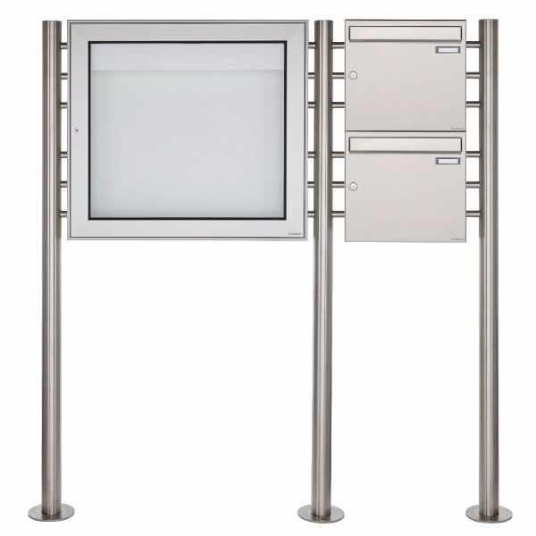 2er Standbriefkastenanlage mit Schaukasten BASIC 3894 ST-R - 710x660 - Edelstahl Standelemente