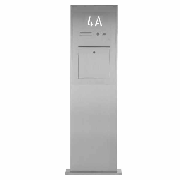 Edelstahl Briefkastensäule Designer BIG mit Hausnummer hinterbeleuchtet - INDIVIDUELL