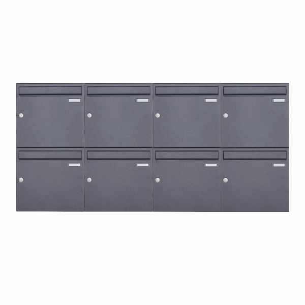 8er 2x4 Aufputz Briefkastenanlage Design BASIC 382A AP - DB703 eisenglimmer