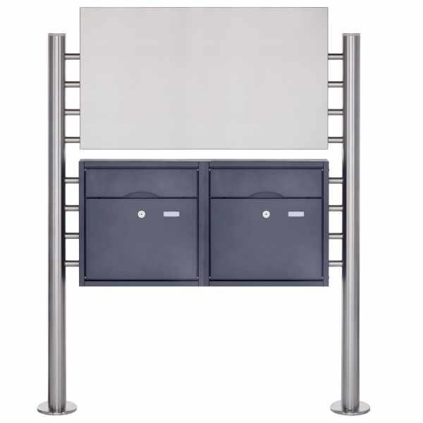 2er Edelstahl Standbriefkasten PREMIUM BIG ST-R pulverbeschichtet mit Werbeschild 800x457