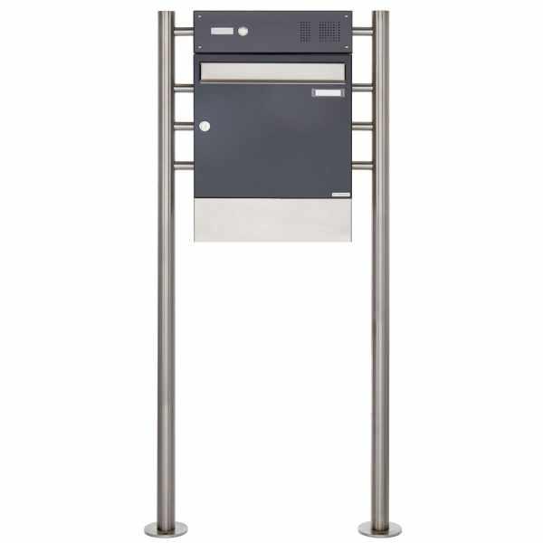 Standbriefkasten Design BASIC 381 ST-R mit Klingelkasten & Zeitungsfach - Edelstahl-RAL 7016
