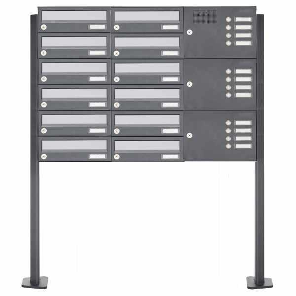 12er Standbriefkasten Design BASIC 385P ST-T mit Klingelkasten - Edelstahl-RAL 7016 anthrazit