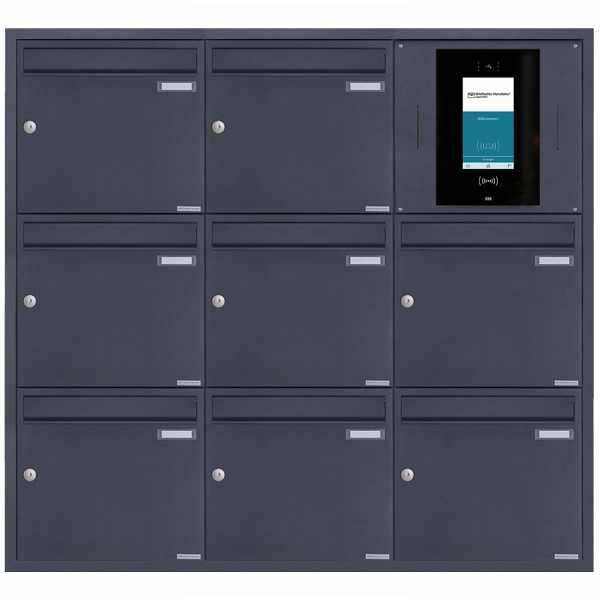 8er 3x3 Edelstahl Unterputzbriefkasten BASIC Plus 382XU UP - RAL nach Wahl - STR Digitale Türstation