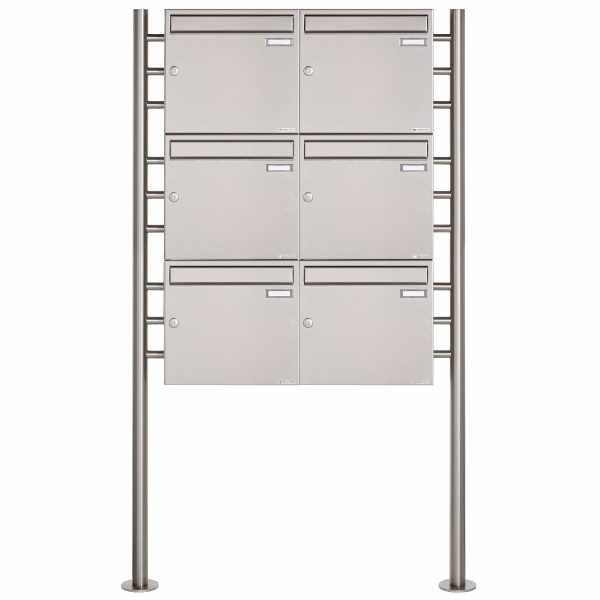 6er 3x2 Edelstahl Standbriefkasten Design BASIC 381 ST-R