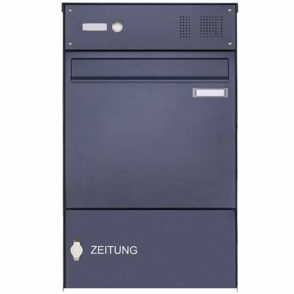 Edelstahl Zaunbriefkasten BASIC Plus 382XZ mit Zeitungsfach & Klingelkasten - RAL nach Wahl