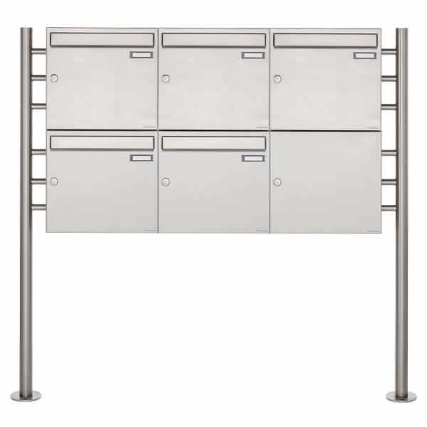 5er 2x3 Edelstahl Standbriefkasten Design BASIC 381 ST-R
