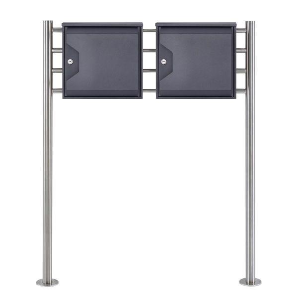 2er Standbriefkasten Design HESSE 155 mit Zeitungsfach - DB 703 eisenglimmer