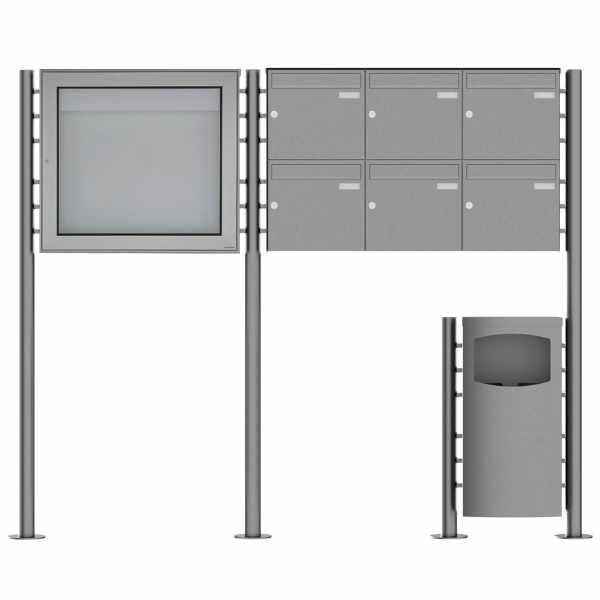6er 2x3 Edelstahl Standbriefkasten Design BASIC Plus 381X ST-R mit Abfallbehälter & Schaukasten