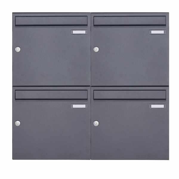 4er 2x2 Aufputz Briefkastenanlage Design BASIC 382A AP - DB703 eisenglimmer