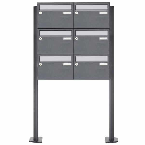 6er Briefkastenanlage freistehend Design BASIC Plus 385XP220 ST-T - Edelstahl-RAL nach Wahl