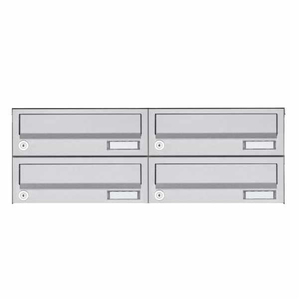 4er 2x2 Aufputz Briefkastenanlage Design BASIC 385A AP - Edelstahl V2A, geschliffen