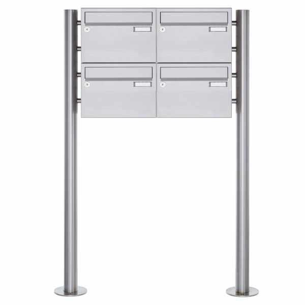 4er 2x2 Edelstahl Standbriefkasten Design BASIC Plus 385XR220 ST-R - Edelstahl V2A