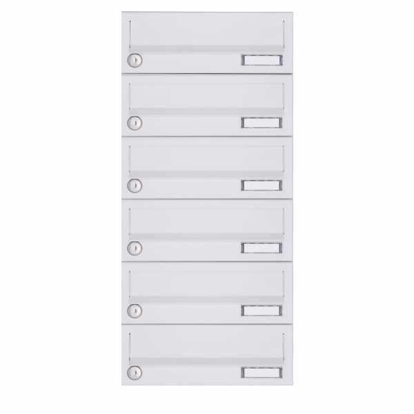 6er Aufputz Briefkastenanlage Design BASIC 385A-9016 AP - RAL 9016 verkehrsweiß