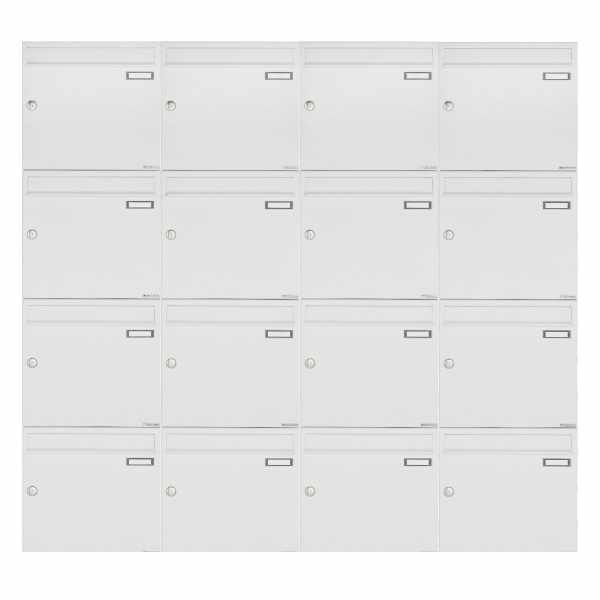 16er 4x4 Aufputz Briefkastenanlage Design BASIC 382A AP - RAL 9016 verkehrsweiß