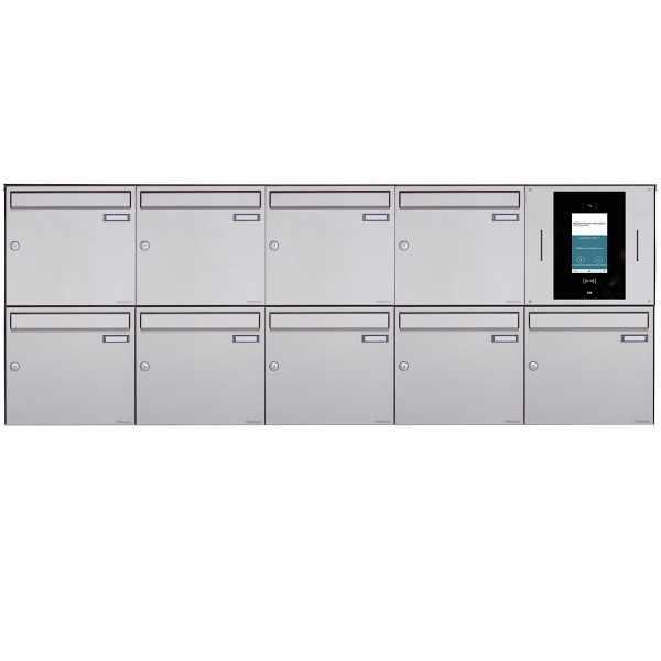 9er 5x2 Aufputzbriefkasten BASIC Plus 382XA AP - Edelstahl geschliffen - STR Digitale Türstation