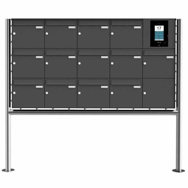 13er Edelstahl Standbriefkasten BASIC Plus 381X ST-R - RAL- STR Digitale Türstation - Komplettset