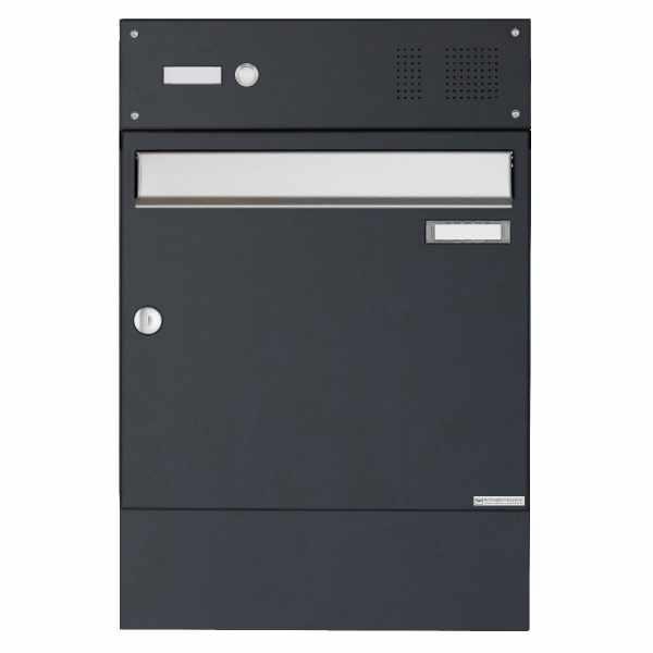 Aufputz Briefkasten Design BASIC 382A AP mit Klingelkasten & Zeitungsfach - Edelstahl-RAL 7016