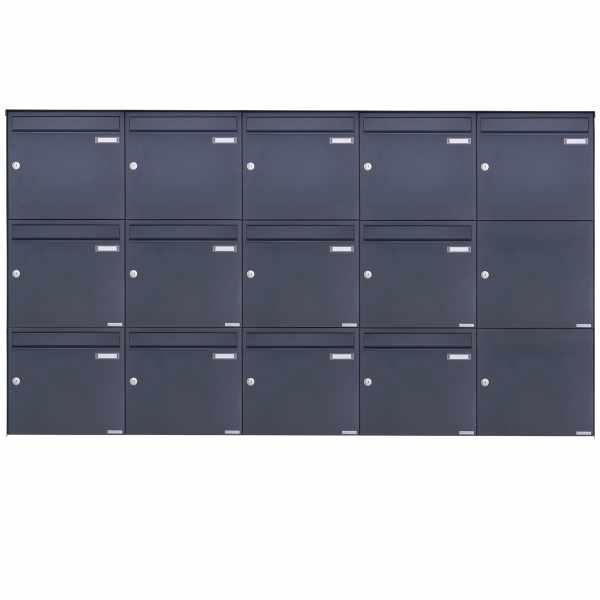 13er 3x5 Edelstahl Aufputz Briefkasten Design BASIC Plus 382XA AP - RAL nach Wahl