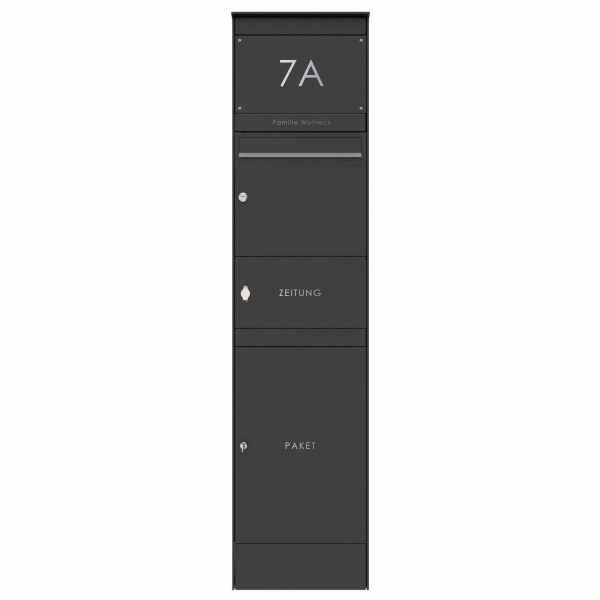 Edelstahl Briefkastenstele BASIC Plus 864X mit Paketfach & Zeitungsfach - RAL nach Wahl