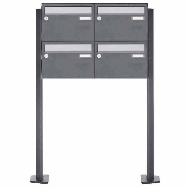 4er Briefkastenanlage freistehend Design BASIC Plus 385XP220 ST-T - Edelstahl-RAL nach Wahl
