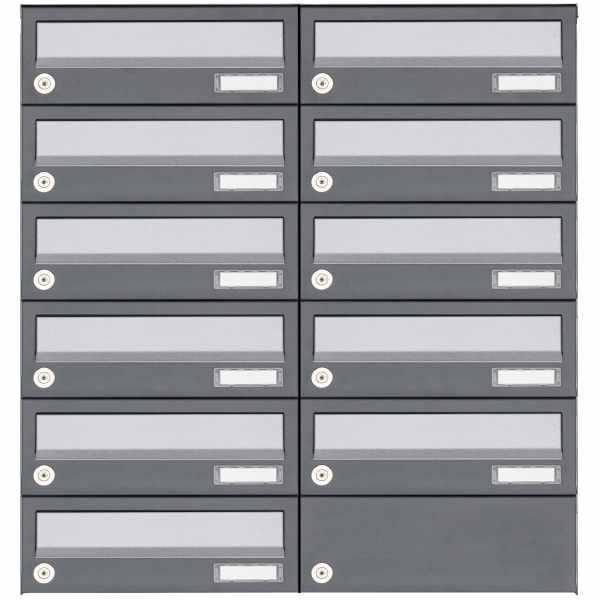 11er 6x2 Aufputz Briefkastenanlage Design BASIC 385A AP - Edelstahl-RAL 7016 anthrazit