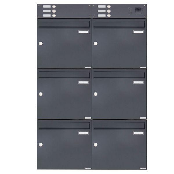 6er Aufputz Briefkasten Design BASIC 382A AP mit Klingelkasten - RAL 7016 anthrazitgrau