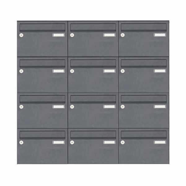 12er Aufputz Briefkastenanlage Design BASIC 385 A 220 - RAL 7016 anthrazitgrau