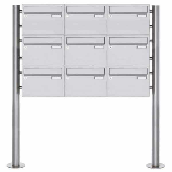 9er Edelstahl Standbriefkasten Design BASIC Plus 385XR220 ST-R - Edelstahl V2A