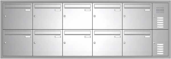 10er Edelstahl Unterputz Briefkastenanlage BASIC 534 UP SP- mit Klingelkasten