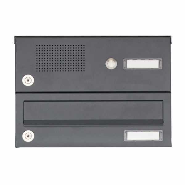 1er Aufputz Briefkastenanlage Design BASIC 385A AP mit Klingelkasten - RAL 7016 anthrazitgrau