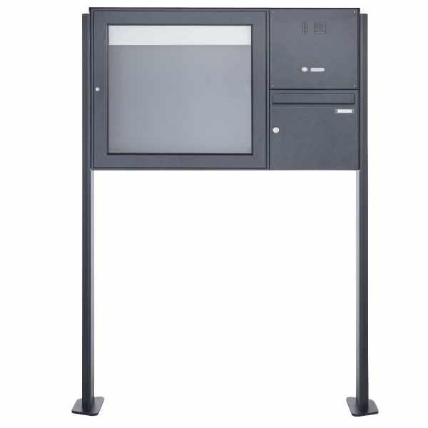 Standbriefkasten mit Schaukasten BASIC Plus 389X ST-T mit Klingelkasten - 710x660 - RAL nach Wahl