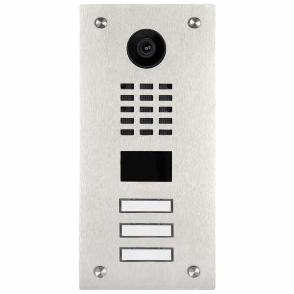 Edelstahl Türstation BASIC 529 mit DoorBird D2100E Video- Sprechanlage - VIDEO Set für 3 Parteien