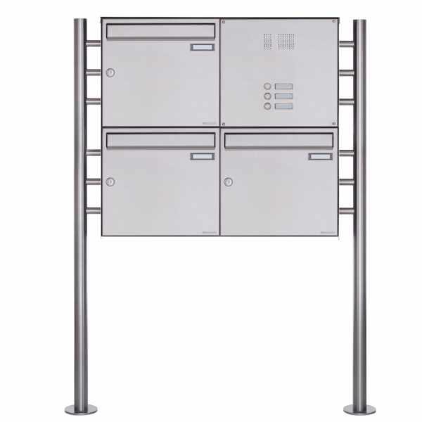 3er Standbriefkasten Design BASIC Plus 381X ST-R mit Klingelkasten - Edelstahl V2A geschliffen