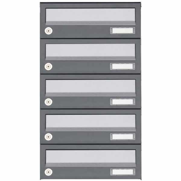 5er Aufputz Briefkastenanlage Design BASIC 385A AP - Edelstahl-RAL 7016 anthrazitgrau