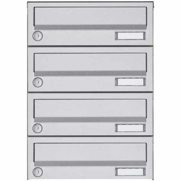 4er Aufputz Briefkastenanlage Design BASIC 385A AP - Edelstahl V2A, geschliffen