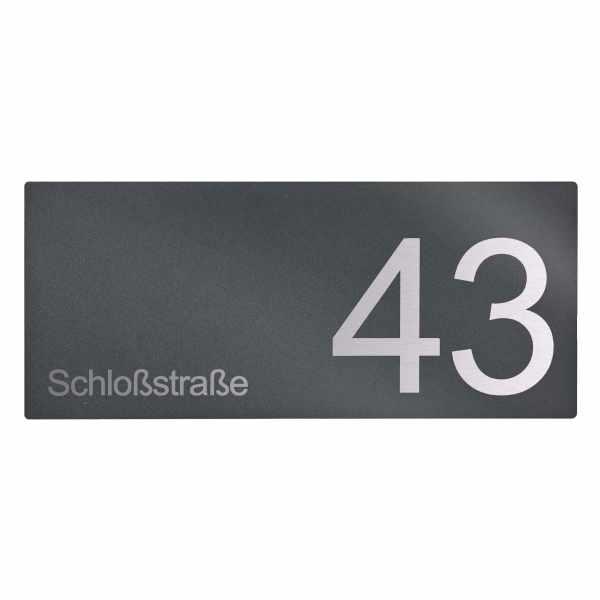 Schild DESIGNER 390A 350x150 - RAL nach Wahl - Hausnummer - Beschriftung