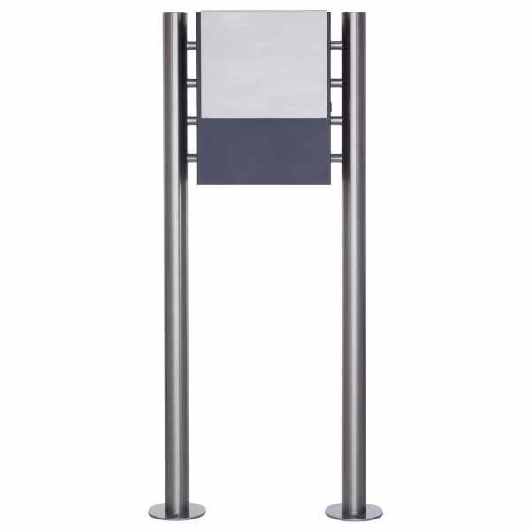 Design Standbriefkasten KANT mit innenliegendem Zeitungsfach - Edelstahl-RAL 7016 anthrazitgrau
