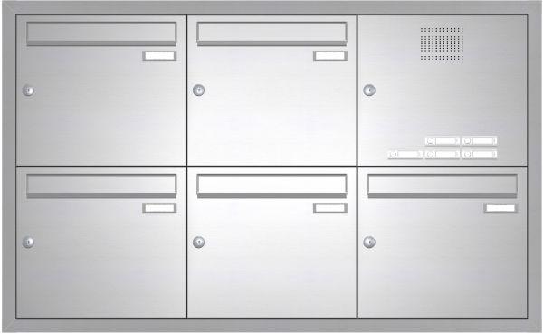Edelstahl Unterputz Briefkastenanlage BASIC 534-UP - Klingel- Sprechstelle - 5 Parteien