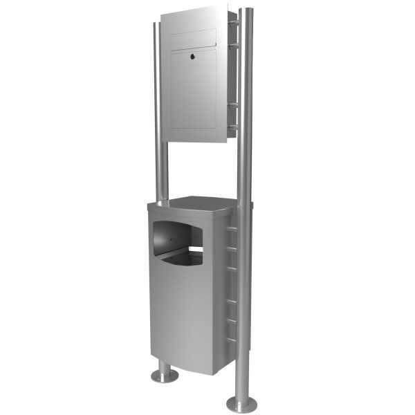 Edelstahl Standbriefkasten DESIGNER Style ST-R mit Abfallbehälter