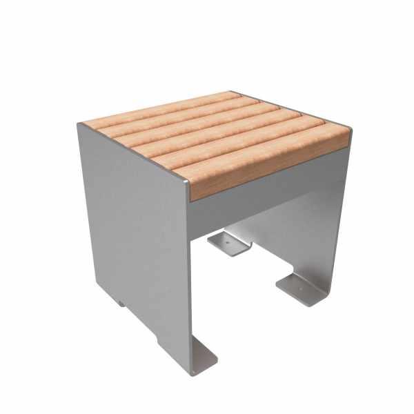 Design Hocker - Beistelltisch NOVALIS - Edelstahl - Lärche geölt