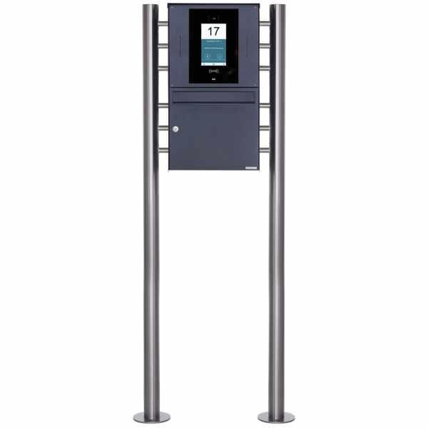 Edelstahl Standbriefkasten BASIC Plus 381X ST-R - RAL- STR Digitale Türstation - Komplettset