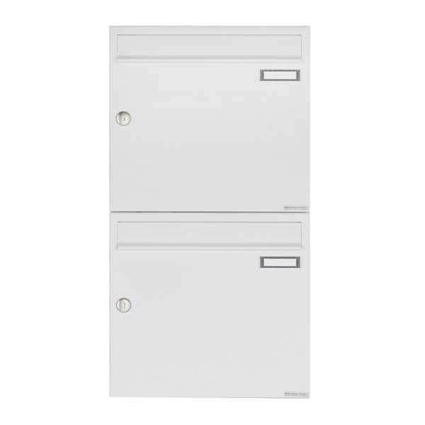 2er 2x1 Aufputz Briefkastenanlage Design BASIC 382A AP - RAL 9016 verkehrsweiß