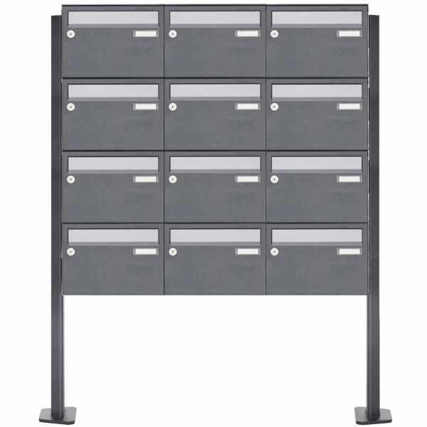 12er Briefkastenanlage freistehend Design BASIC Plus 385XP220 ST-T - Edelstahl-RAL nach Wahl
