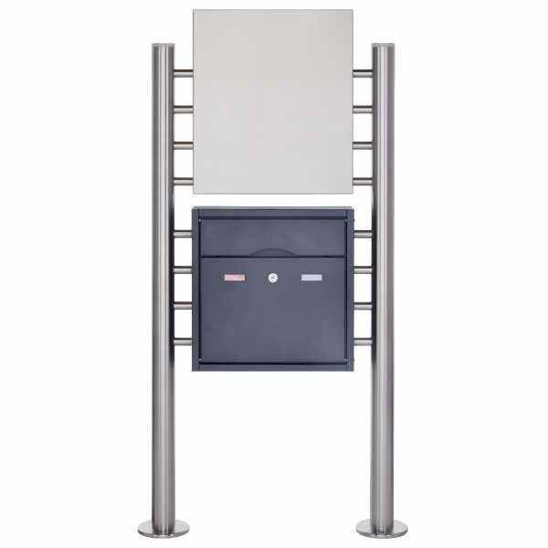 Edelstahl Standbriefkasten PREMIUM BIG ST-R pulverbeschichtet mit Werbeschild 400x457 aus Edelstahl